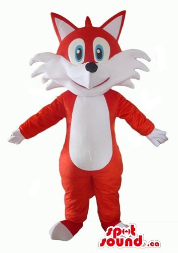Red and white fox animal SpotSound Mascot US costume fancy dress - Fox Costume Canada