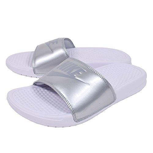 (Nike Women's Benassi Just Do It Sandals, White/Wolf Grey/Metallic Silver, 6)