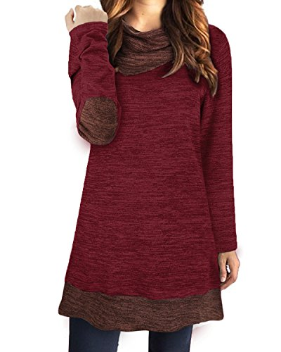 168b4b01bf STYLEWORD Women s Long Sleeve Drape Scarf Neck Patchwork Casual Tunic Sweater  Shirts(Wine