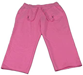 Green Tea Ladies Size Small Soft Wash Pre-Wash Fleece Capri Pants Hot Pink