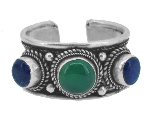 White Without Stones Ring (Tibetan Bohemian Stackable Simulated Gemstone Ring (Blue Green))