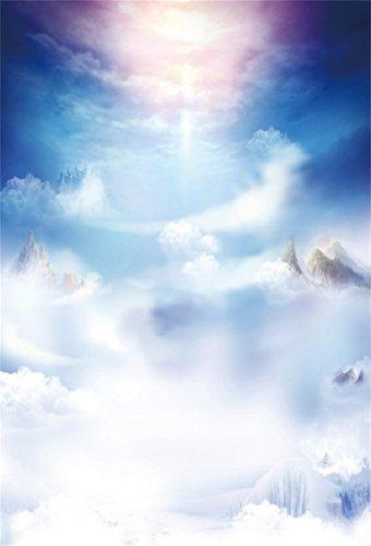 CSFOTO 3x5ft Background for Heaven Holy Shine Photography Backdrop Wonderland Paradise God Faith Jesus Christ Fairy Cloud Sunrise Wedding Holiday Vacation Photo Studio Props Polyester Wallpaper ()