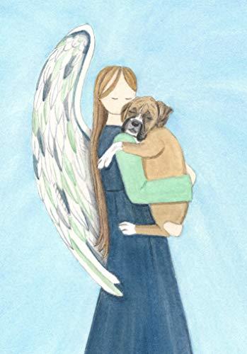 Angel hugs Boxer/Lynch Signed Folk Art Print