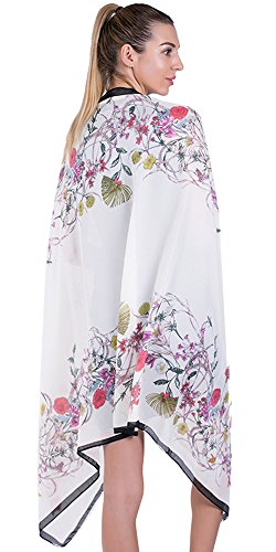 Printed Silk Chiffon Dress - 100% Silk Scarf for Women Long Large Lightweight Satin Scarves Ivory Sunscreen Printed Shawl Wrap Headscarf