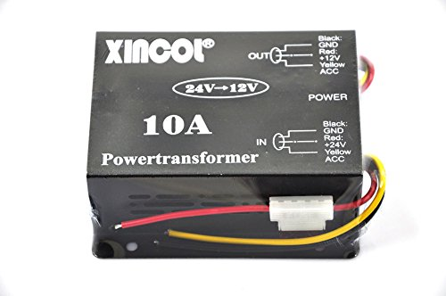 XINCOL 10A 120W Truck Car Power Supply DC 24V to 12V Buck Converter Voltage Reducer Step-down Transformer with Full Protections Inside Memory Line and Inline Fuse ()