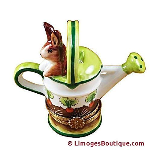 French Limoges Boxes Boutique WATERING CAN W/RABBIT - LIMOGES BOX AUTHENTIC PORCELAIN FIGURINE FROM FRANCE