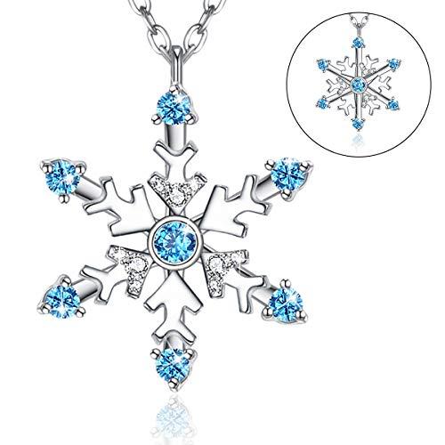 Snowflake Necklace Rotatable Women 6 Petal Frozen Snowflake