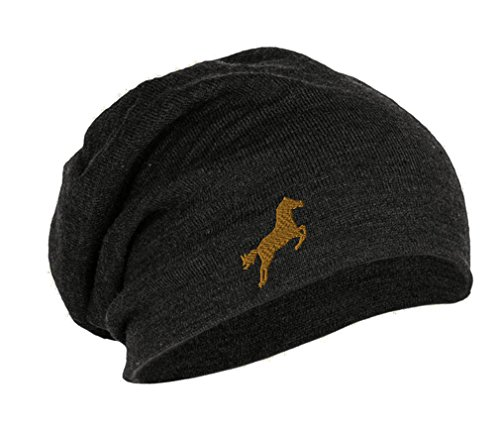 Speedy Pros Horse Style 2 Embroidered Unisex Adult Acrylic Slouch Beanie Winter Hat - Dark Grey, One ()