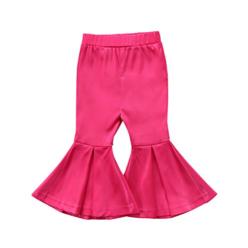 Toddler Kids Baby Girls Flared PantsSolid Color Long Leg Bell Bottoms Leggings Casual Trousers Outfits (Rose red, 3-4 Years)