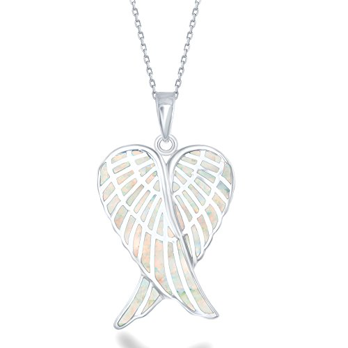 (Beaux Bijoux Sterling Silver Double Angel Wings Heart Created White Opal Angel Wings 18