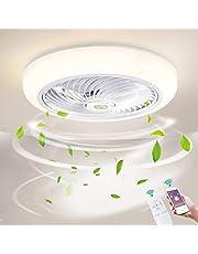 Ø46cm Dimmen Plafondventilator met verlichting LED 36W Dimbaar Plafondverlichting met afstandsbediening en APP, Ventilatorlicht voor Huiskamer Slaapkamer Plafondlamp, Acryl schaduw