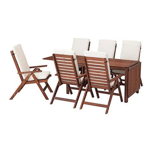 APPLARO エップラロー テーブル+リクライニングチェア6 屋外用, ブラウンステイン, フローソーン/デューヴホルメン ベージュ 992.687.40 B07DYLFJRP