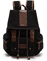 Sechunk Multifunction Cotton Canvas Leather Backpack Book bag Working Bag Travel Duffel Bag Hiking Bag Camping...