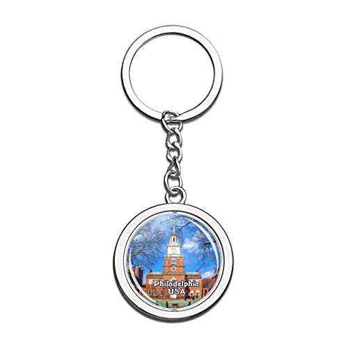 USA United States Keychain Independence Hall Philadelphia Key Chain 3D Crystal Spinning Round Stainless Steel Keychains Travel City Souvenirs Key Chain Ring]()