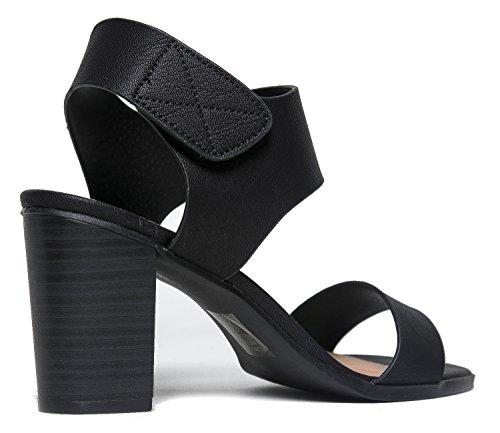 Peep Toe Sandal Low Stacked Heel Open Toe Ankle Heel Cutout Velcro Enclosure by J Adams Sandals