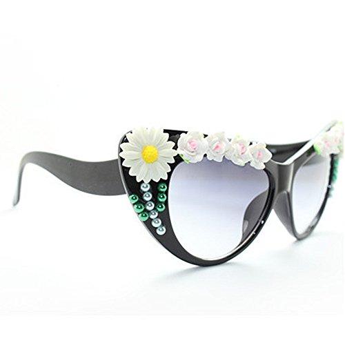 playa de Ojos perlas protección Peggy sol de Gu flor de la conducción UV de de de gato la de sol señora Decoración de girasol gafas a de verano hecha la para gafas vacaciones mano OTFrnvOqwR