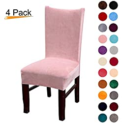 Colorxy Velvet Spandex Fabric Stretch Dining Room Chair Slipcovers Home Decor Set of 4, Pink