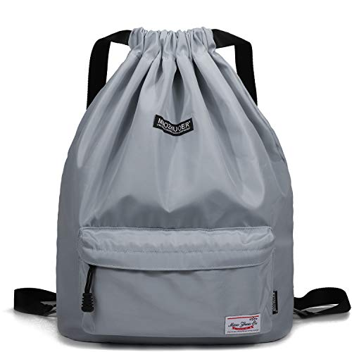 Drawstring Backpack String Bag Sackpack Cinch Water Resistant Nylon for Gym Shopping Sport Yoga by WANDF (Light Grey 6032) -