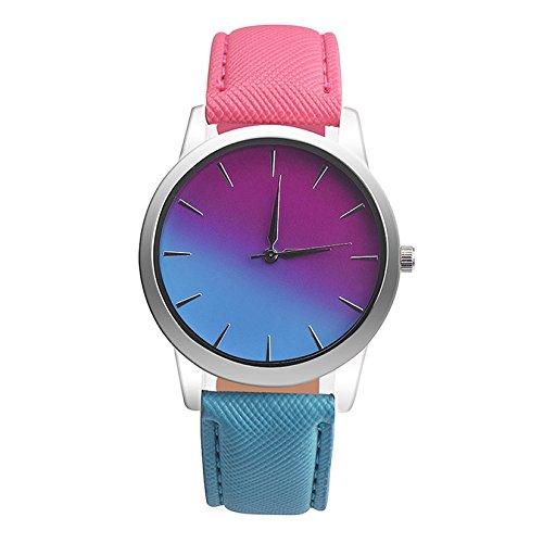 JiaMeng Cuero Banda analógico Cuarzo Reloj Retro Rainbow Design Leather Band Reloj de Pulsera de aleación