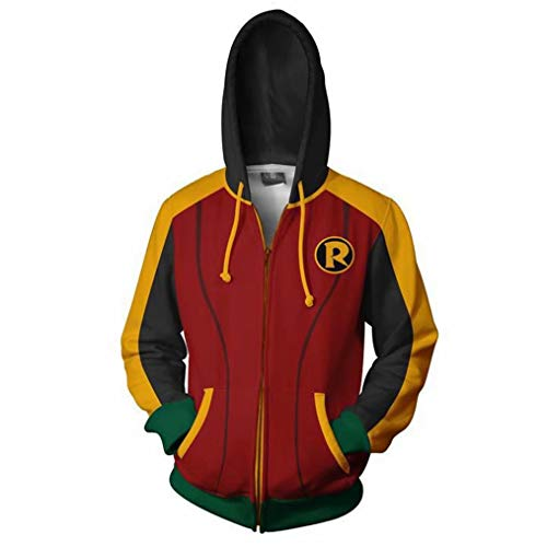 Greed Land Mens Print Hoodie Full Zipper Sweatshirt Super Hero Tim Drake -