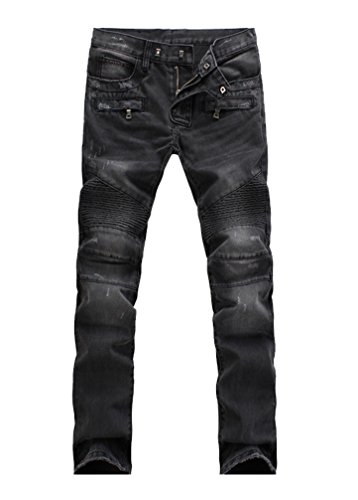 (Lavnis Men's Slim Fit Vintage Distressed Motorcycle Jeans Runway Biker Denim Jeans Style 5-Black-32)