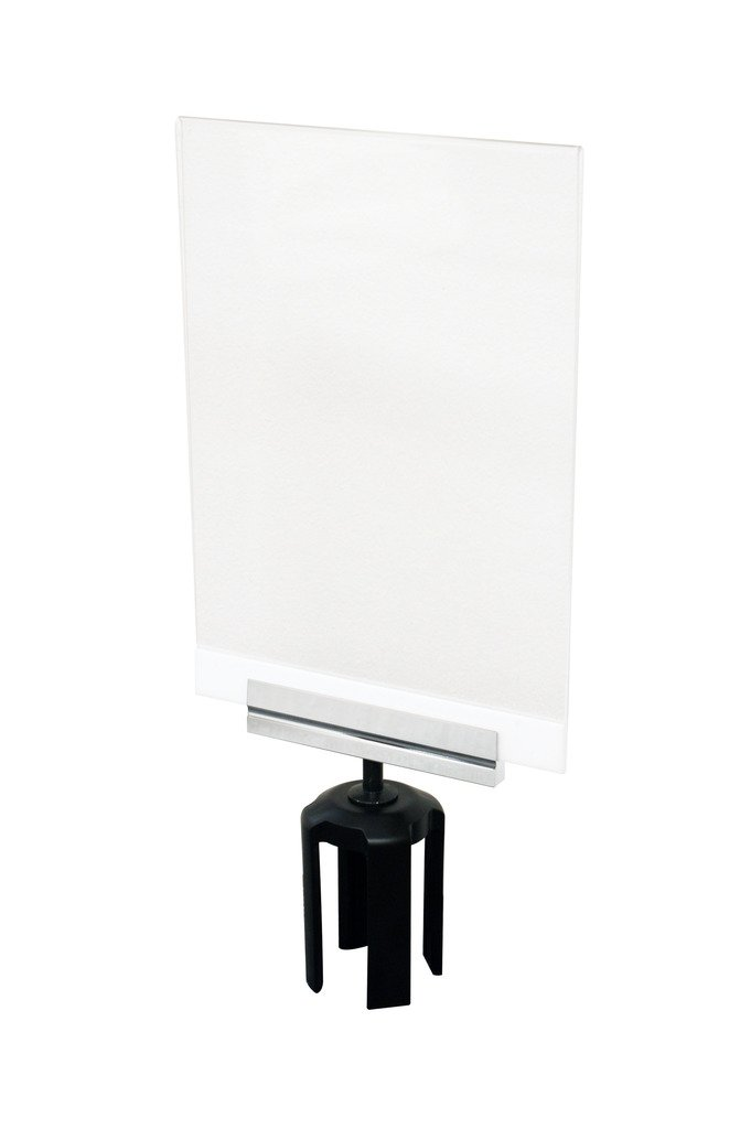 Tensabarrier PSH1-T-1P Acrylic Paper Sign Holder with Heavy Duty Sign Cone, Polished Chrome Bracket