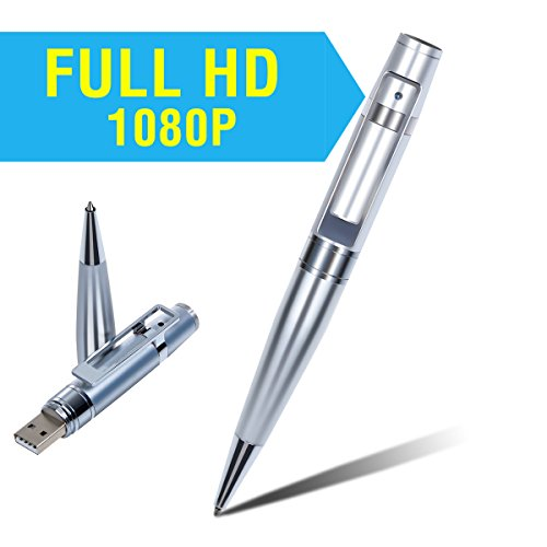 Corprit Silver Hidden Spy Full HD 1920*1080P Video Camera Pen Portable Built in 8GB Storage Ballpoint Pen Recorder with Two Another Refills, Built in MIC, Support Loop Recording