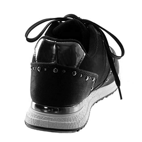 Baskets Blanc 3 Plat Chic Sporty Mode Clouté Noir Diamant Strass Cm Tennis Femme matière Talon Angkorly Chaussure Bi Etoile EpqUwnF