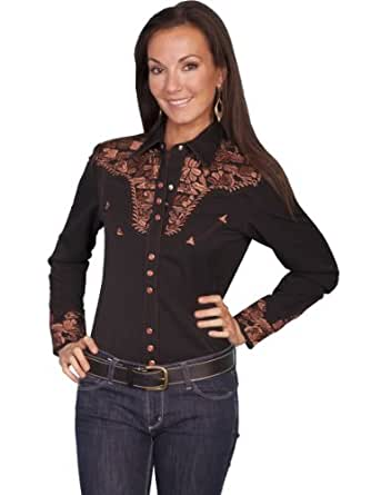 Scully Women's Floral Embroidered Western Shirt Black X-Small