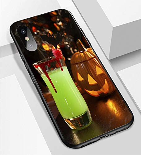 iPhone X/XS Ultra-Thin Phone case Picture of Halloween Drinks Vampires kiss Cocktail Anti-Drop Anti-Slip Soft Convenient Protective Shell