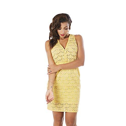 Sleeveless Zip Women Garden Dresses Fashion Elastic Hollow Out Lace Beauty Yellow FgBU6xqw