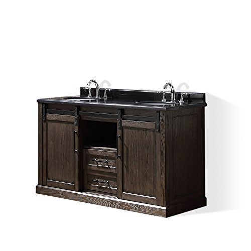 Ove Decors Santa Fe 60 Double Vanity in Rustic Walnut Finish with Black Granite Countertop, 60-Inch by 22-Inch