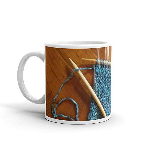 knitting photo, denim, denim photo, blue, wood, knitting, knit, brown, 11 Oz White Ceramic (Yamamoto Print)