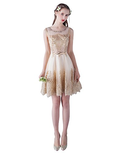 Beauty-Emily A-Linie Gürtel Taille ärmel O-Ausschnitt Pailletten Rüschen Abendkleider Gold-mini