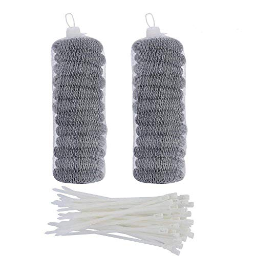 24 Pieces Stainless Steel Washing Machine Lint Traps Snare Laundry Mesh Washer Hose Filter with 24 Pieces Cable Ties by SUNHE