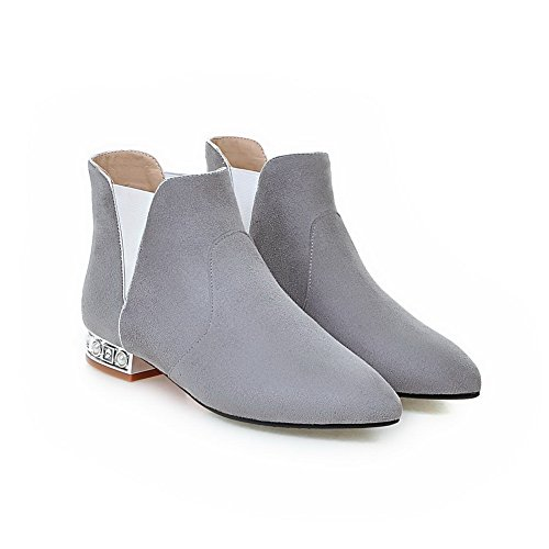 Frosted Heels Low Toe AmoonyFashion Boots Closed Women's Pointed Low Gray Solid Top fxTn7Zgn