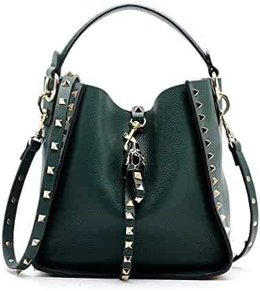 Kommschonff Women Top Handle Shoulder Bag Personality Punk Rivet Satchel  Tote Purse Fashion Vintage Big Bag 6ec1d7efc8c46