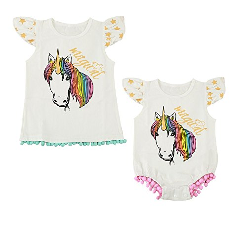 Infant Baby Toddler Girls Pony Cartoon Romper T-Shirt Sisters Matching Tops (2-3T, T-Shirt)