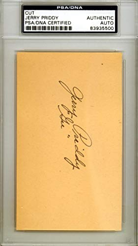 """Jerry""""Gee"""" Priddy Autographed 3x5 Cut Signature New York Yankees #83935500 PSA/DNA Certified MLB Cut Signatures"""