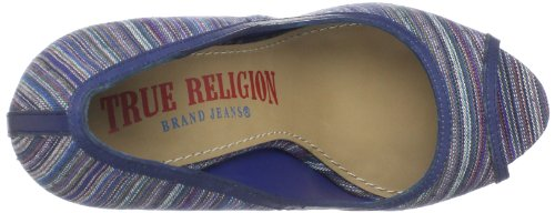 True Women's Wedge Peep Toe Religion Blue Regan ar5wqaT