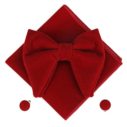 Men Velvet Oversized Bow Tie Pocket Square Cufflinks Set Bowtie Hanky Cuff Links (Wine - Bow Red Oversized