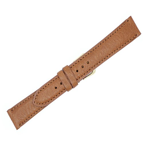 18mm Long Tan Padded Sewn Montana Leather - Watch Strap Band - Gold & Silver Buckles Included - Available in: Black, Brown & Tan - Made in USA by Real Leather Creations FBA52