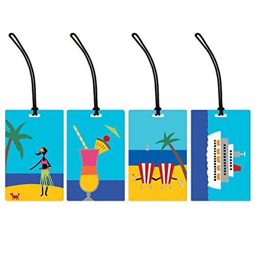 Tropical Paradise 4-Piece Colorful Luggage Tag Set - Assorted