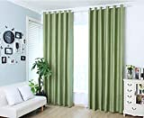 YJBear Cotton Linen Solid Color Thermal Insulated Blackout Curtains Grommet Top Curtain Panel Draperies Window Treatment Set for Living Room/Bedroom Green 78″ x 106″(2 Panels) Review