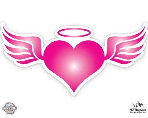 Pink Angel Heart with Wings - 3