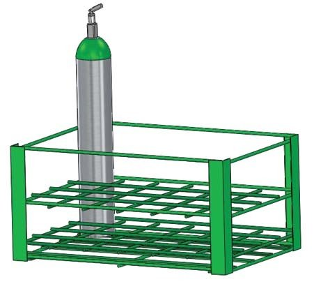 FWF HEAVY DUTY RACK HOLDS 24 (D OR E STYLE) CYLINDERS DIAMETER 4.3'' MADE IN USA