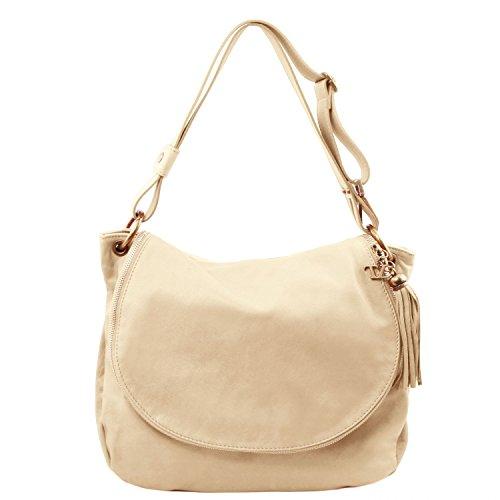 Tuscany Leather - TL Bag - Borsa morbida a tracolla con nappa - TL141110 (Rosso Lipstick) Beige