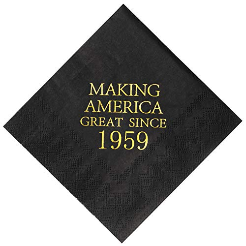 Crisky 60th Birthday Napkins Black and Gold Dessert Beverage Cocktail Luncheon Napkins 60th Birthday Decoration Party Supplies, Making America Great Since 1959, 50 Pack 4.9x4.9 Folded