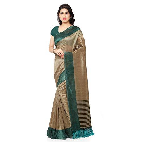 ussar Silk Stripes Printed Saree(JOPLNB3011E_Beige&Teal Green_Free Size) ()