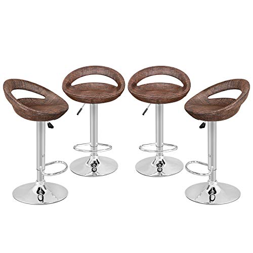 Nova Microdermabrasion Modern Ajustable Swivel Bar Stool Rattan Wicker Hydraulic Pub Barstool with Open Back and Chrome Steel Footrest, Set of 4